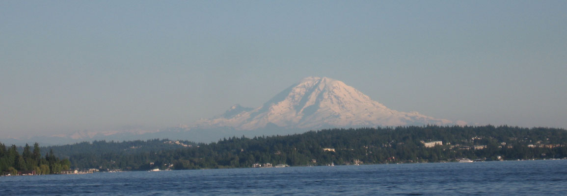 Mt Rainier from Lake Washington, Seattle, WA, USA